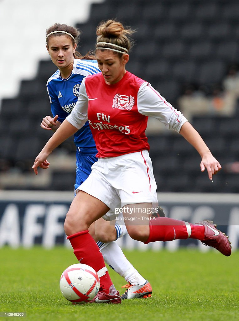 Jade Bailey of Arsenal shields the ball from Rosella Ayane of Chelsea during the FA Girls' Youth Cup U17s Centre of Excellence Final between Arsenal and Chelsea at Stadium MK on May 6, 2012 in Milton Keynes, England.