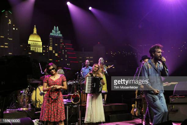 Jade Castrinos Nora Kirkpatrick and Alex Ebert of Edward Sharpe and the Magnetic Zeroes performs during the bands' Austin City Limits taping at the...