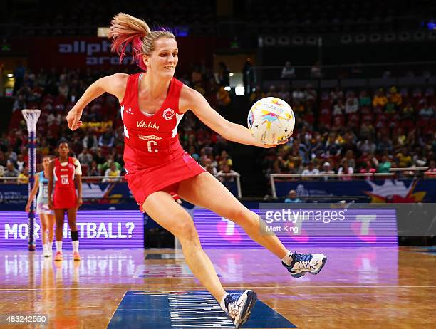 Jade Clarke of England catches the ball during the 2015 Netball World Cup match between England and Scotland at Allphones Arena on August 7 2015 in...