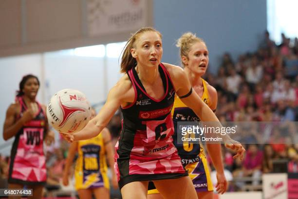 Jade Clarke of the Thunderbirds passes during the round three Super Netball match between the Thunderbirds and the Lightning at Priceline Stadium on...