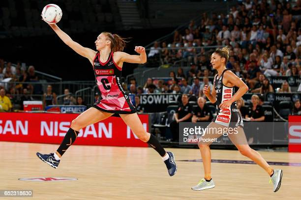 Jade Clarke of the Thunderbirds receives a pass during the round four Super Netball match between the Magpies and the Thunderbirds at Hisense Arena...