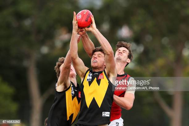 Jade Cleeland of Werribee takes a mark during the round three VFL match between Werribee and Essendon at North Melbourne Recreation Reserve on April...