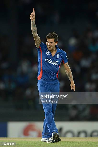 Jade Dernbach of England celebrates dismissing Shafiqullah of Afghanistan during the ICC World Twenty20 2012 Group A match between England and...