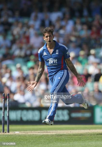 Jade Dernbach of England celebrates taking the wicket of Hashim Amla of South Africa during the 3rd NatWest ODI between England and South Africa at...