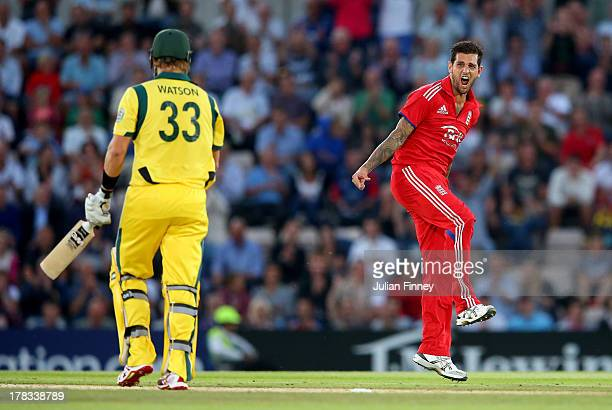 Jade Dernbach of England celebrates taking the wicket of Shane Watson of Australia during the 1st NatWest Series T20 match between England and...