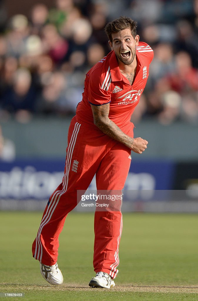 <a gi-track='captionPersonalityLinkClicked' href=/galleries/search?phrase=Jade+Dernbach&family=editorial&specificpeople=667885 ng-click='$event.stopPropagation()'>Jade Dernbach</a> of England celebrates winning the 2nd NatWest Series T20 match between England and Australia at Emirates Durham ICG on August 31, 2013 in Chester-le-Street, England.