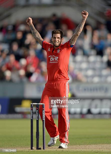Jade Dernbach of England celebrates winning the 2nd NatWest Series T20 match between England and Australia at Emirates Durham ICG on August 31 2013...