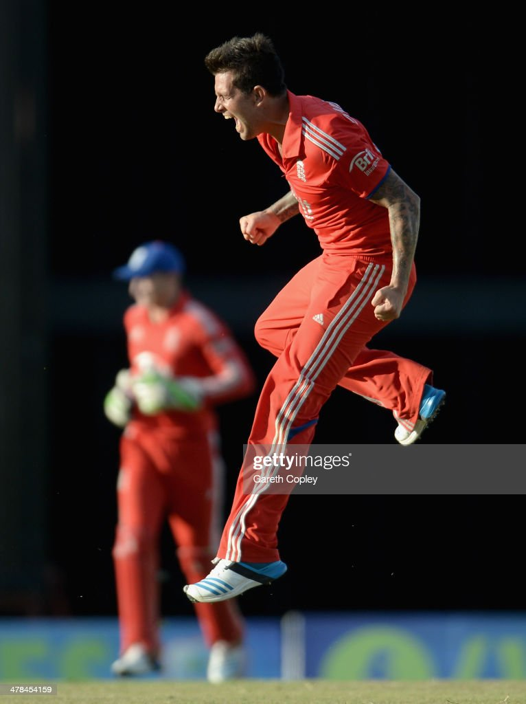 <a gi-track='captionPersonalityLinkClicked' href=/galleries/search?phrase=Jade+Dernbach&family=editorial&specificpeople=667885 ng-click='$event.stopPropagation()'>Jade Dernbach</a> of England celebrates winning the 3rd T20 International match between the West Indies and England at Kensington Oval on March 13, 2014 in Bridgetown, Barbados.