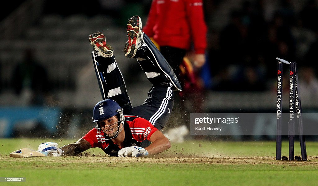 Jade Dernbach of England is run out during the NatWest International Twenty20 match between England and the West Indies at The Kia Oval on September...