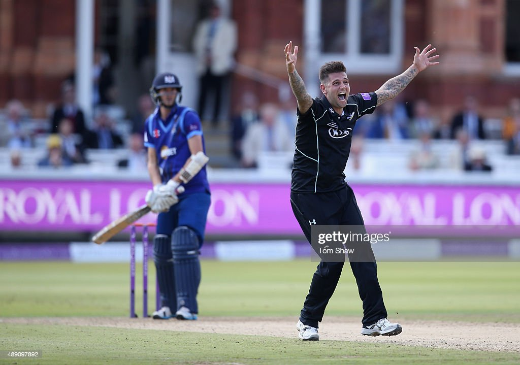 <a gi-track='captionPersonalityLinkClicked' href=/galleries/search?phrase=Jade+Dernbach&family=editorial&specificpeople=667885 ng-click='$event.stopPropagation()'>Jade Dernbach</a> of Surrey appeals for and gets the final wicket of <a gi-track='captionPersonalityLinkClicked' href=/galleries/search?phrase=David+Payne&family=editorial&specificpeople=790765 ng-click='$event.stopPropagation()'>David Payne</a> of Gloucestershire to secure his hat trick during the Royal London One Day Cup Final between Gloucestershire and Surrey at Lord's Cricket Ground on September 19, 2015 in London, England.