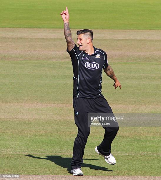 Jade Dernbach of Surrey appeals for the wicket of Michael Klinger of Gloucestershire during the Royal London One Day Cup final match between...