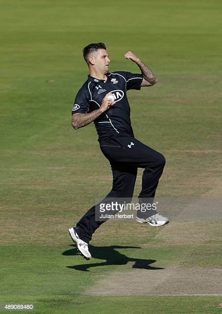 Jade Dernbach of Surrey bowls during the Royal London OneDay Cup Final between Surrey and Gloustershire at Lord's Cricket Ground on September 19 2015...