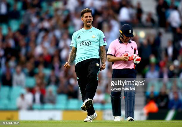 Jade Dernbach of Surrey celebrates dismissing Brendon McCullum of Middlesex during the NatWest T20 Blast Surrey and Middlesex at The Kia Oval on July...