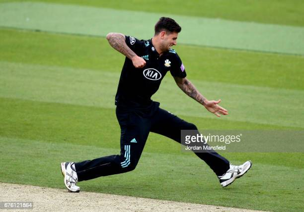 Jade Dernbach of Surrey celebrates dismissing Neil Wagner of Essex during the Royal London OneDay Cup match between Surrey and Essex at The Kia Oval...