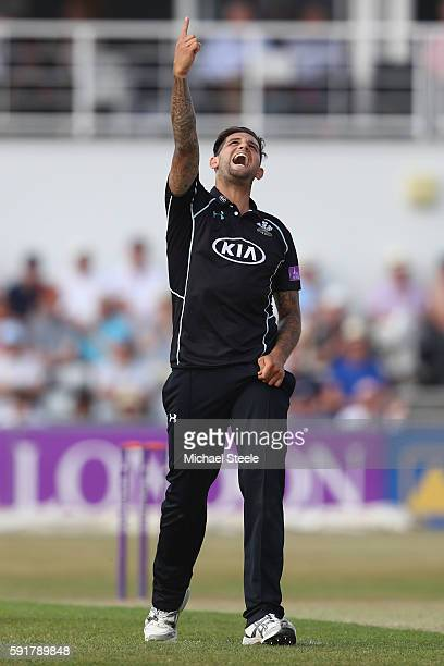 Jade Dernbach of Surrey celebrates taking the wicket of Adam Rossington of Northants during the Royal London OneDay Cup Quarter Final match between...