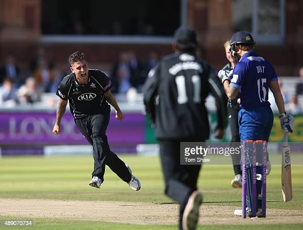 Jade Dernbach of Surrey celebrates taking the wicket of Chris Dent of Gloucestershire during the Royal London One Day Cup Final between...