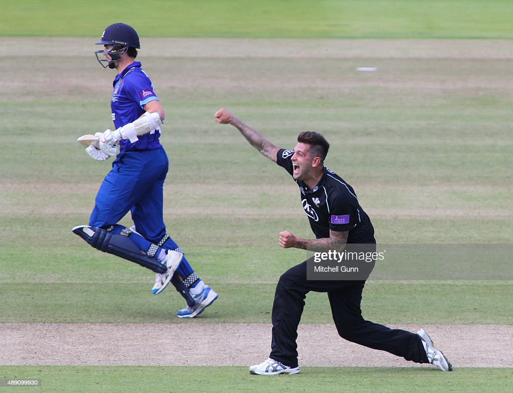 Jade Dernbach of Surrey celebrates taking the wicket of David Payne of Gloucestershire for his hattrick during the Royal London One Day Cup final...