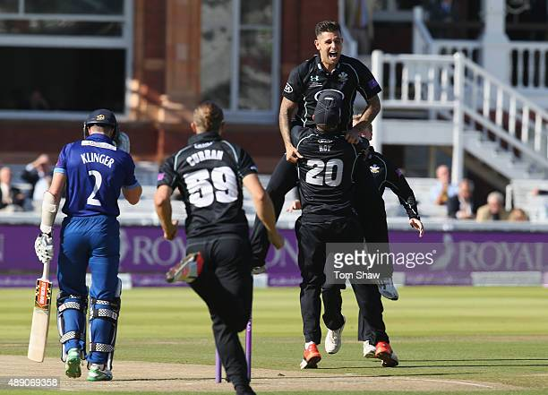 Jade Dernbach of Surrey celebrates taking the wicket of Michael Klinger of Gloucestershire during the Royal London One Day Cup Final between...