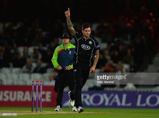 Jade Dernbach of Surrey celebrates taking the wicket of Mitchell Claydon of Kent during the Royal London OneDay Cup Quarter Final match between...