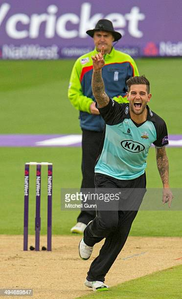 Jade Dernbach of Surrey celebrates taking the wicket of Paul Stirling of Middlesex during the Surrey v Middlesex Panthers NatWest T20 Blast match at...
