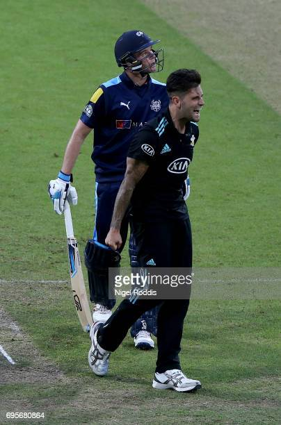 Jade Dernbach of Surrey celebrates taking the wicket of Peter Handscomb of Yorkshire Vikings in action during the Royal London OneDay Cup Play Off...