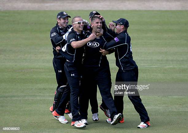 Jade Dernbach of Surrey celebrates the wicket of David Payne of Gloustershire during the Royal London OneDay Cup Final between Surrey and...