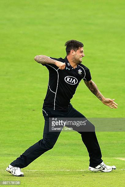 Jade Dernbach of Surrey reacts after taking Yorkshire's final wicket and victory during the Royal London OneDay Cup Semi Final match between...