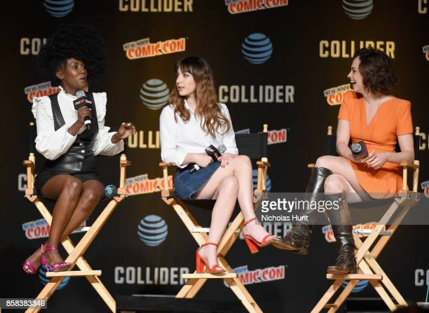 Jade Eshete Hannah Marks and Fiona Dourif speak onstage during the Dirk Gently's Holistic Detective Agency BBC AMERICA Official Panel during 2017 New...
