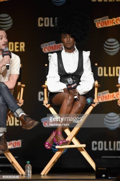 Jade Eshete speaks onstage during the Dirk Gently's Holistic Detective Agency BBC AMERICA Official Panel during 2017 New York Comic Con on October 6...