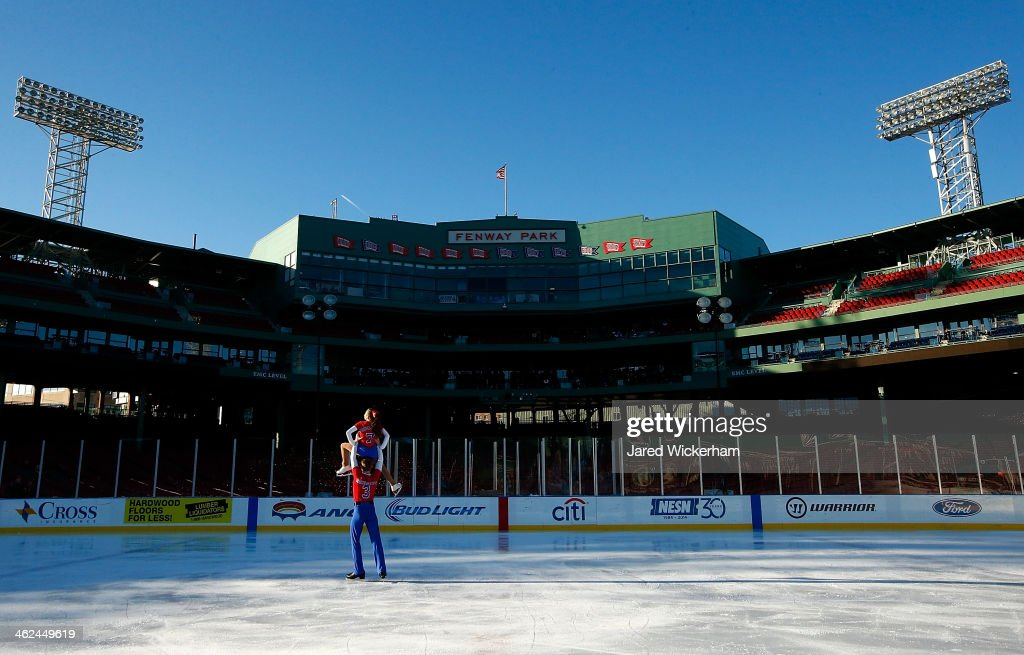 Jade Esposito and Nathan Rensing perform their pairs routine during the figure skating show as part of the Citi Frozen Fenway events at Fenway Park on January 13, 2014 in Boston, Massachusetts.