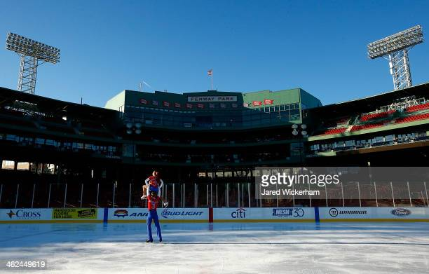 Jade Esposito and Nathan Rensing perform their pairs routine during the figure skating show as part of the Citi Frozen Fenway events at Fenway Park...