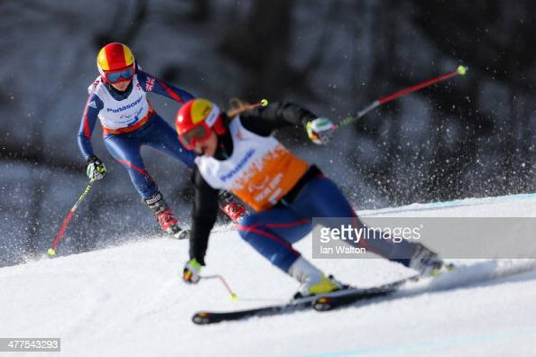 Jade Etherington and guide Caroline Powell in the Women's SuperG Visually Impaired during day three of Sochi 2014 Paralympic Winter Games at Rosa...