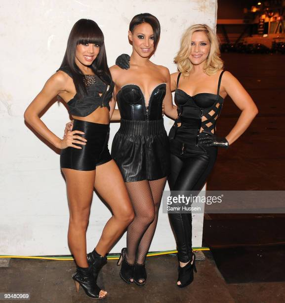 Jade Ewen Amelle Berrabah and Heidi Range of The Sugababes pose backstage at the T4 Stars of 2009 at Earls Court Arena on November 29 2009 in London...