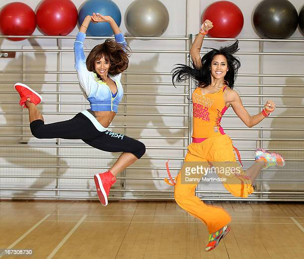 Jade Ewen and instructor Vicky Zagarra do zumba moves at a photocall to launch Zumba Fitness' Great Calorie Drive initiative at Columbo Centre on...