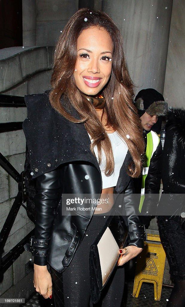 Jade Ewen at Aura night club on January 18, 2013 in London, England.
