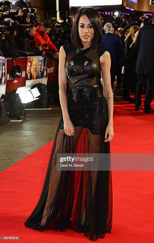 Jade Ewen attends the UK Premiere of 'Mortdecai' at Empire Leicester Square on January 19, 2015 in London, England.