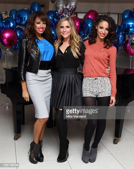 Jade Ewen Heidi Range and Amelle Berrabah of the Sugababes celebrate the launch of 'BBC Children in Need POP Goes the Musical' at Kensington Roof...