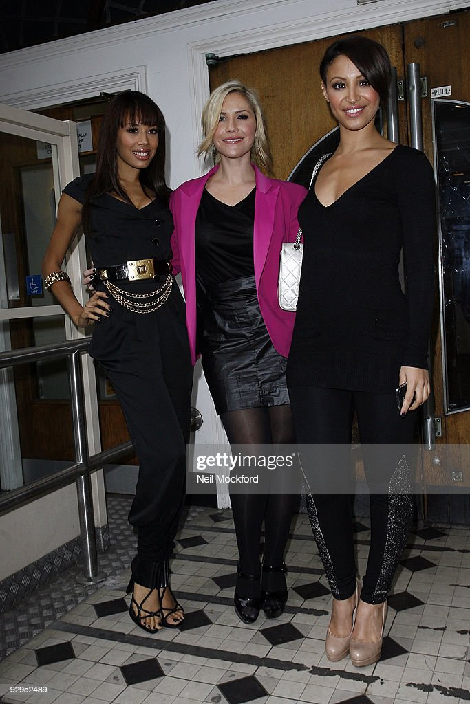 Jade Ewen Heidi Range and Amelle Berrabah of the Sugababes leave the BBC Maida Vale Studios on November 10 2009 in London England
