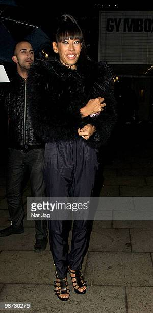Jade Ewen of Sugababes attends Pre Brits Party at Bunglow 8 on February 15 2010 in London England