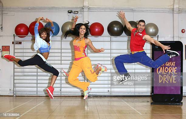 Jade Ewen zumba instructor Vicky Zagarra and Louis Smith attend a photocall to launch Zumba Fitness' Great Calorie Drive initiative at Columbo Centre...