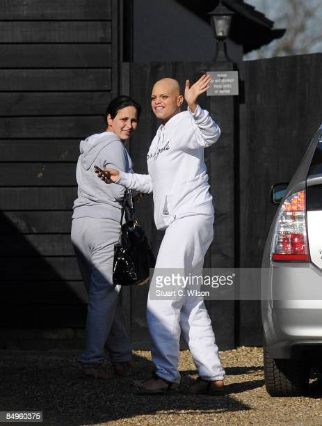 Jade Goody arrives at her home in Waltham Abbey on February 21 2009 in Waltham Abbey Essex England