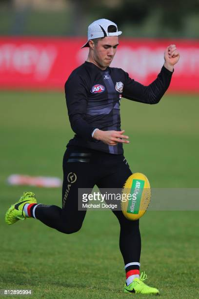 Jade Gresham kicks the ball during a St Kilda Saints AFL training session at Linen House Oval on July 12 2017 in Melbourne Australia