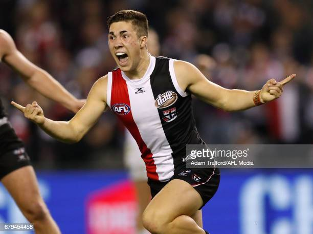 Jade Gresham of the Saints celebrates a goal during the 2017 AFL round 07 match between the St Kilda Saints and the GWS Giants at Etihad Stadium on...