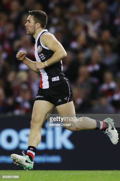 Jade Gresham of the Saints celebrates a goal during the round 22 AFL match between the St Kilda Saints and the North Melbourne Kangaroos at Etihad...