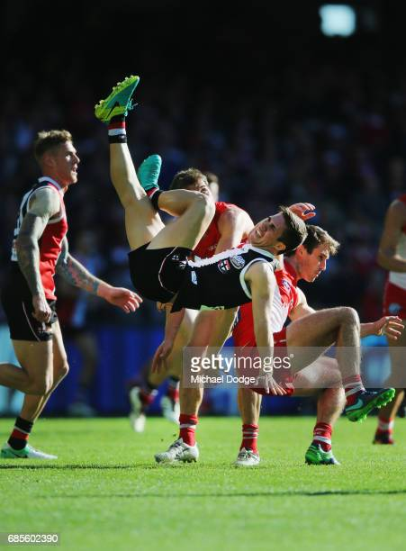 Jade Gresham of the Saints hits the ground after this contest for the ball during the round nine AFL match between the St Kilda Saints and the Sydney...