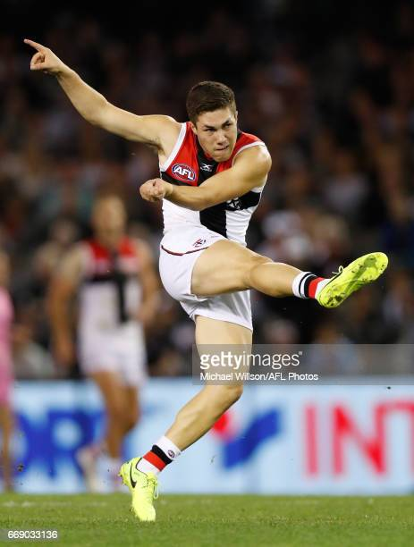 Jade Gresham of the Saints kicks the ball during the 2017 AFL round 04 match between the Collingwood Magpies and the St Kilda Saints at Etihad...