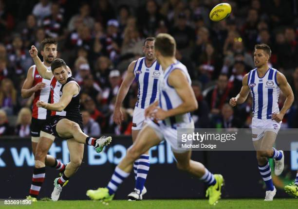 Jade Gresham of the Saints kicks the ball for a goal during the round 22 AFL match between the St Kilda Saints and the North Melbourne Kangaroos at...