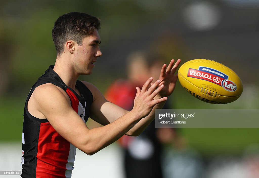 Jade Gresham of the Saints takes the ball during a St Kilda Saints AFL training session at Moorabbin Oval on May 27, 2016 in Melbourne, Australia.