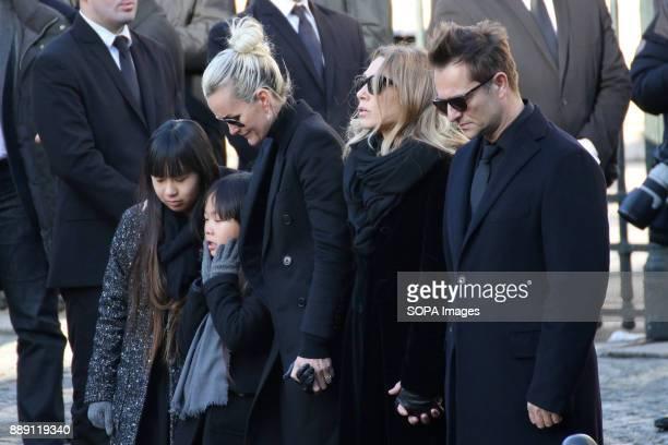 Jade Hallyday Joy Hallyday Laeticia Hallyday Laura Smet and David Hallyday seen during Johnny Hallydays funerals at Eglise de la Madeleine