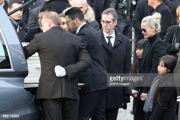 Jade Hallyday Laeticia Hallyday and Joy Hallyday seen during Johnny Hallydays funerals at Eglise de la Madeleine